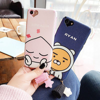 For iPhone 7 Case Lover Pink Fruits Peach Bear Matte Soft TPU Plastic Back Case for iPhone 7 6 6S Plus Phone Cases Tassel Cover-03129