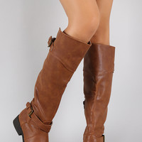 Qupid Buckle Round Toe Riding Knee High Boot