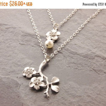 SALE: Mom and Daughter Necklace, cherry blossom necklace, pair necklace, matching necklace, sister necklace, mother daughter, N10
