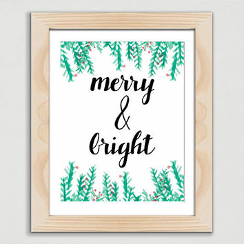 Merry and Bright Decor | Christmas Printable Sign | Cute Holiday Decor | Christmas Song Lyrics | Digital Download | Dorm Decor