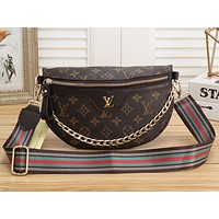 LV Bag Louis Vuitton Trending Print Women Waist Bag Metal Chain Bust Bag Coffee