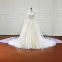 A-Line Luxury wedding dress Long Sleeves Wedding Dresses Tulle Appliques Illusion Beach