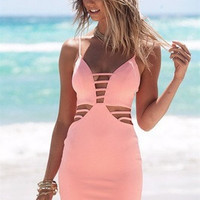 SIMPLE - Hollow Bandage Sexy Pink Backless Beach Strap Casual Boho Dress b735