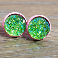 Druzy earrings- Lime Green drusy - Pink stud druzy earrings