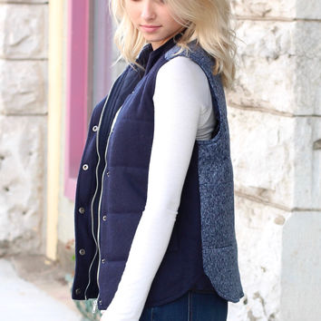 Sweater Weather Contrast Back Quilted Vest {Navy} - Size XS