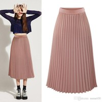 Women fashion design midi chiffon skirt elastic waist slim casual fit pleated skirt summer white black pink