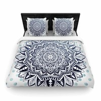 "Nika Martinez ""Dots Mandala"" Blue White Illustration Woven Duvet Cover"