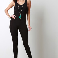 Stretch Jersey Knit Sleeveless Jumpsuit