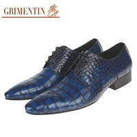 Fashion Genuine Leather Men Dress Shoes Sales Blue Male Shoes Men For Business