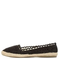 Black Crocheted Espadrille Skimmer Flats by Charlotte Russe
