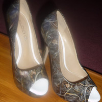 custom order, hand painted, hunting camouflage theme, heels or flats