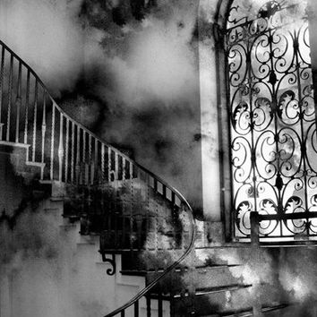 """Black and White Photography, Surreal Gothic Staircase, Spooky Haunting Eerie, Fantasy Fine Art Photography 8"""" x 12"""""""
