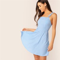 Tie Strap Polka Dot Print Sundress Women Sleeveless Spaghetti Strap Dress High Waist A Line Vacation Mini Dress