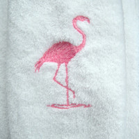 Flamingo Towel, Bathroom Or Powder Room, Embroidered Pink Flamingo Design