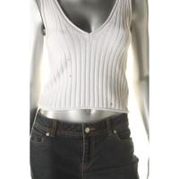 Guess Womens Ribbed Knit Double V Tank Top Sweater