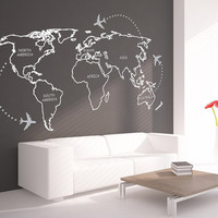 World Map Outlines with continents decal for housewares