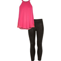 River Island Girls pink chiffon top and legging outfit