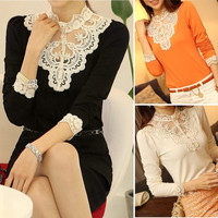 Vintage Women  Turtleneck Lace Bead Long Sleeve Slim shirt Tops Blouse 7_S = 1913133700