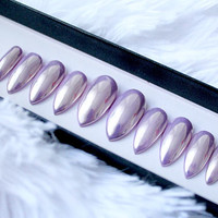 Lilac Chrome Press On Nails | Purple Mirror Chrome | Fake Nails | False Nails | Custom Shapes and Sizes