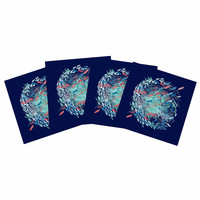 "Frederic Levy-Hadida ""Underwater Life - Blue"" Blue Fish Indoor/Outdoor Place Mat (Set of 4)"