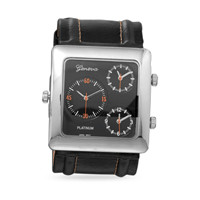 Brown Leather Three Dial Fashion Watch