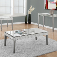 """END TABLE - 24""""X 24"""" / BRUSHED SILVER / MIRROR"""