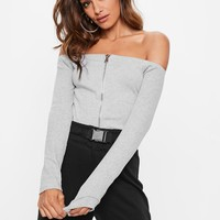 Missguided - Gray Bardot Zip Thru Ribbed Jean Grazer Top