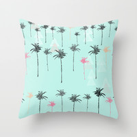 Tropical Palm Dreams  Throw Pillow by Sunkissed Laughter