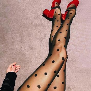 Polka Dots Mesh Fashion Stockings Pantyhose Tights