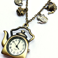 Tea Time Pocket Watch Necklace Inspired by Alice In Wonderland, teapot timepiece and charms