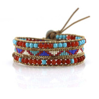 Turquoise and Red Crystals with Miyuki Glass Seed Beads on Natural Leather Wrap Bracelet