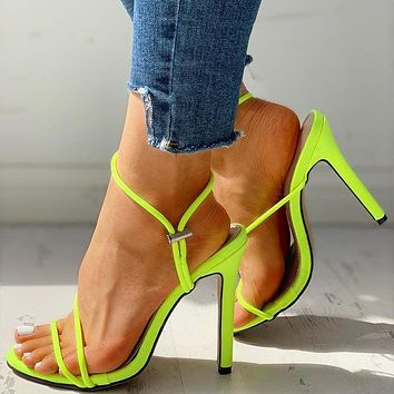 New summer fluorescent pointed toe stiletto sandals plus size open toe women's shoes