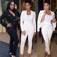 Plus size black white 2 two piece set WOMEN long jumpsuit elegant sexy party bodycon bandage romper playsuit outfit overalls hot