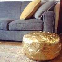 Metallic Storage Ottoman Pouf in Gold or Silver