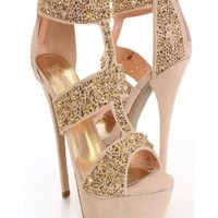 Liliana Paulette-87 strappy rhinestone heels shoes with beige nude & gold