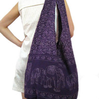 Large Cotton Hobo Hippie Sling Crossbody Slouch by LittleEastBay