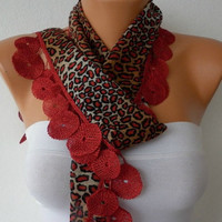 Black Red Scarf  - Cotton  Scarf -  Cowl with Lace Edge