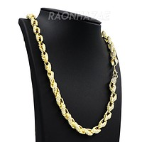 "Hip Hop Fully Iced Mens 10mm Heavy Rope Chain (Multiple Sizes 9""-36"")"