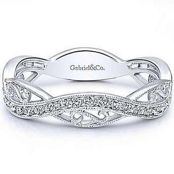 Gabriel Twisted Filigree Diamond Stackable Ring