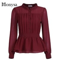 Plus Size Womens Tops Fashion 2016 Autumn Long Sleeve Women Chiffon Blouses New Casual Peplum Top And Shirts Blue Red Black