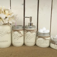 Mason Jar Bathroom Vanity Set / Set of 5 Jars / Antique White Painted Mason Jars