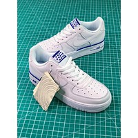 Nike Air Force 1 Low Af1 White / White-blue Sport Shoes - Sale