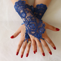 Wedding Gloves,Royal Blue,Lace Gloves,Fingerles,Costume Gloves,Bridal Lace Gloves,Wedding Accessories