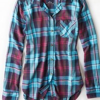 AEO Women's Plaid Boyfriend Shirt (Teal)