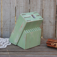 Knife Block, Sage Green, Upcycled, Shabby Chic, Hand Painted, Distressed, Green, Kitchen Decor, Rustic, Steak Knife Block, Kitchen Organizer