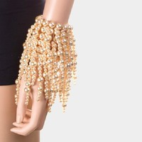 cream faux pearl stretch bracelet stack drop dangle