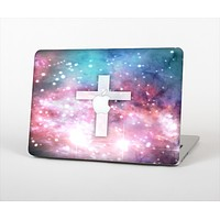 """The Vector White Cross v2 over Colorful Neon Space Nebula Skin Set for the Apple MacBook Air 11"""""""