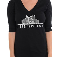 I Run This Town - Football V-Neck Tee