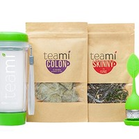 30 Day Detox Tea Kit for Teatox & Weight Loss to get that Skinny Fit and Flat Tummy by Teami Blends | | With Our Best Colon Cleanse Blend to Raise Energy (Green, Detox Kit + Tumbler + Infuser)