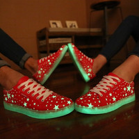 New Specials hot Selling emitting luminous casual shoes women couple LED lights shoe fashion sneakers Fluorescence = 1929999940